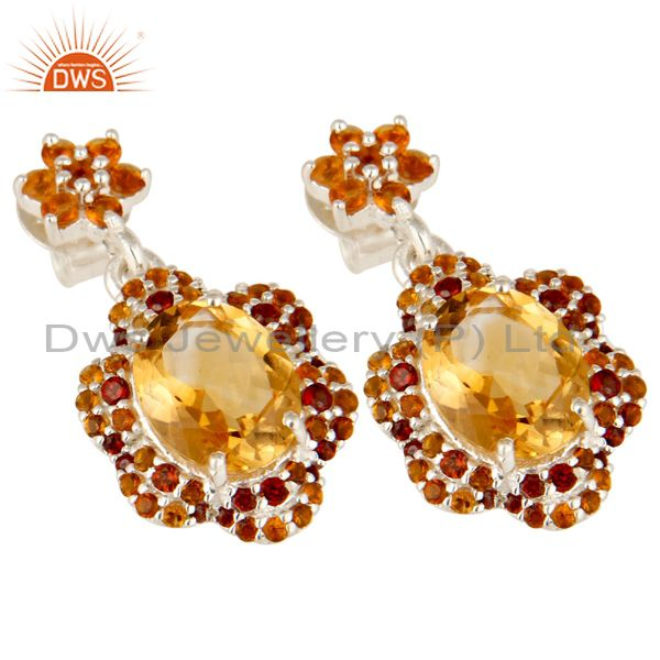 Exporter 925 Sterling Silver Natural Citrine And Garnet Gemstone Cluster Dangle Earrings