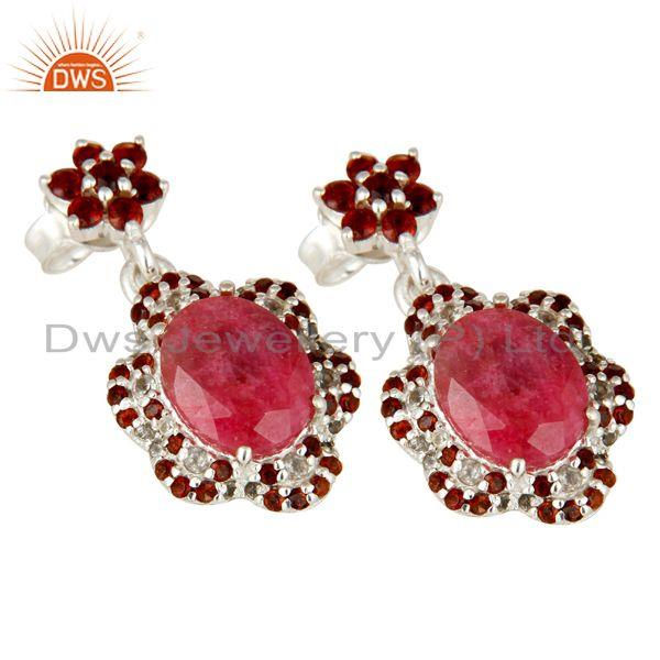 Exporter Ruby and Garnet Dangle Sterling Silver Earring With White Topaz