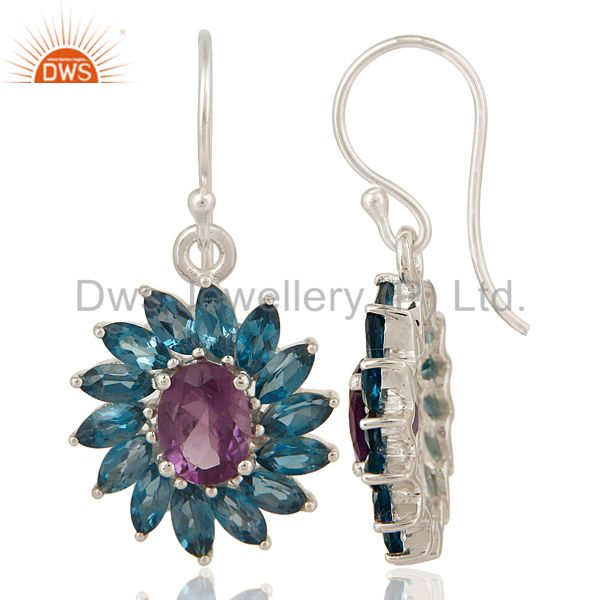 Exporter Amethyst And Blue Topaz Sterling Silver Floral Dangle Hook Earrings