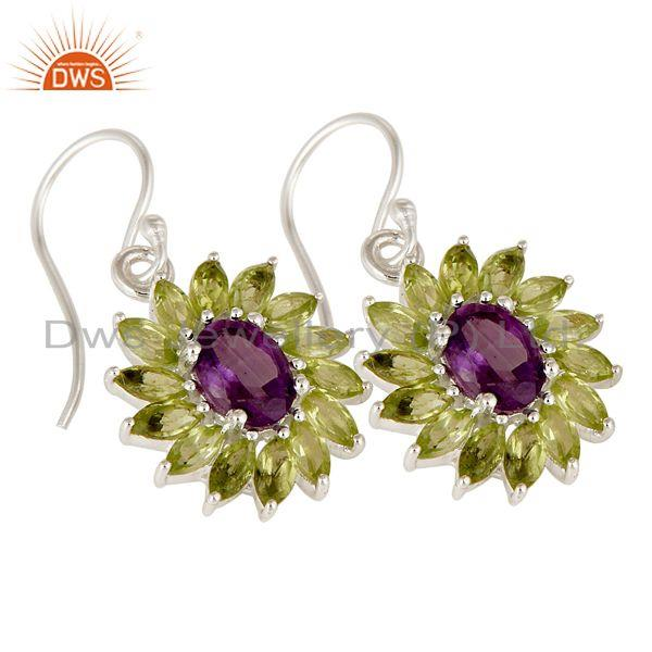 Exporter 925 Sterling Silver Amethyst And Peridot Gemstone Dangle Cluster Earrings
