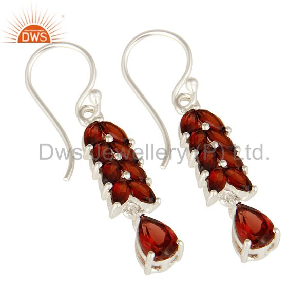 Exporter Natural Garnet Genuine Sterling Silver Gemstone Solitaire Dangle Earrings