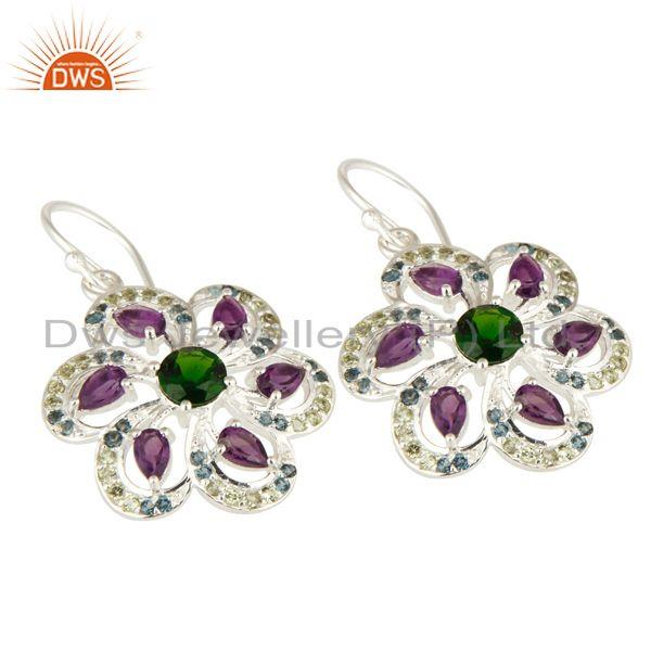 Exporter Amethyst, Blue Topaz, Peridot And Chrome Diopside Sterling Silver Flower Earring