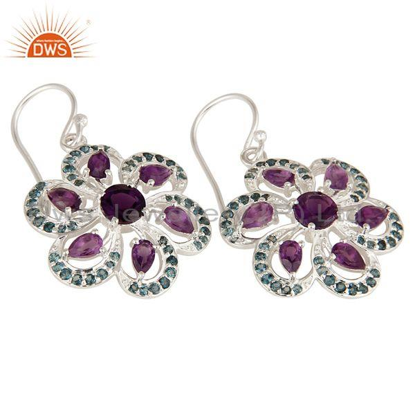 Exporter 925 Sterling Silver Amethyst And Blue Topaz Flower Dangle Earrings