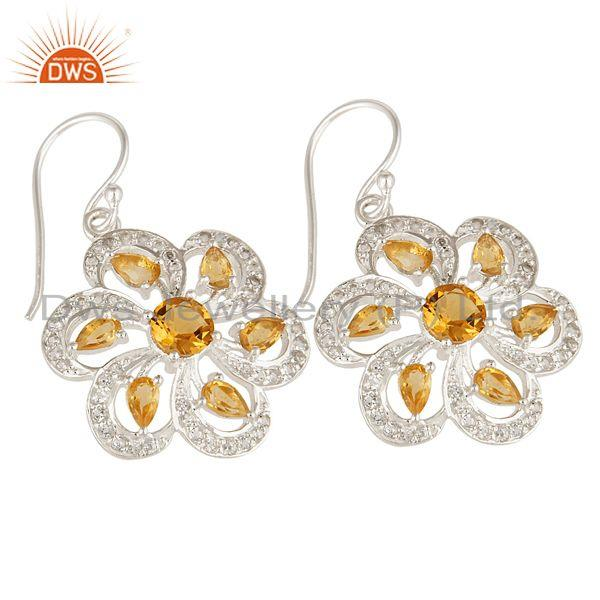 Exporter 925 Sterling Silver Citrine And White Topaz Cluster Floral Dangle Earrings
