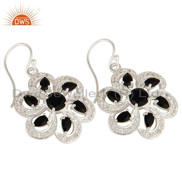 Exporter 925 Sterling Silver Black Onyx And White Topaz Floral Cluster Earrings