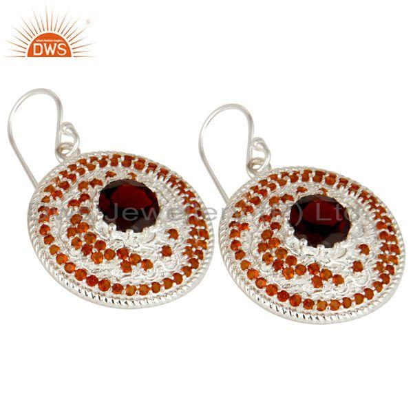 Exporter 925 Sterling Silver Citrine and Garnet Gemstone Disc Designer Dangle Earrings