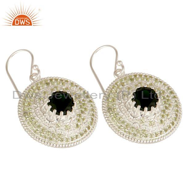 Exporter 925 Sterling Silver Chrome Diopside And Peridot Disc Design Dangle Earrings
