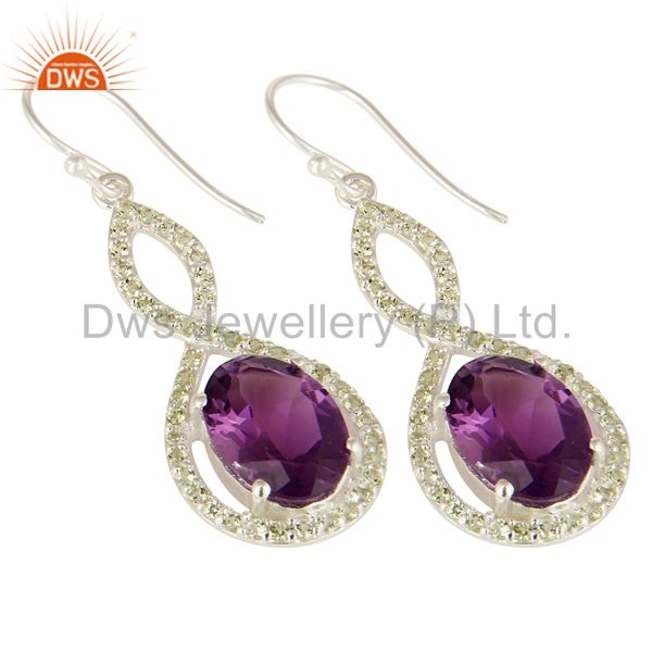 Exporter Natural Amethyst Sterling Silver Peridot Gemstone Accent Designer Dangle Earring