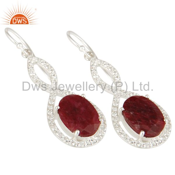 Exporter Oval Ruby Corundum And White Topaz Solitaire Sterling Silver Dangle Earrings
