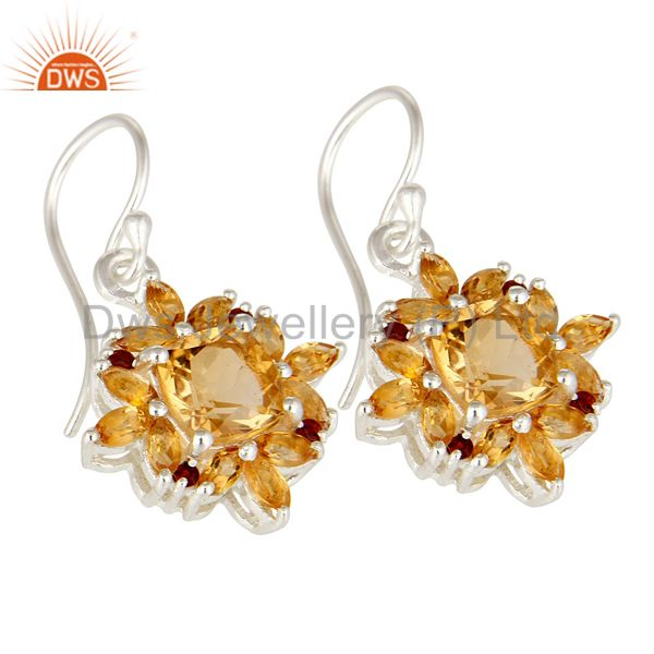 Exporter Natural Cushion-Cut Citrine Gemstone Sterling Silver Earrings With Garnet