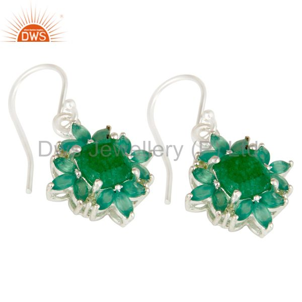 Exporter Natural Peridot Green Aventurine and Onyx Gemstone Sterling Silver Earrings