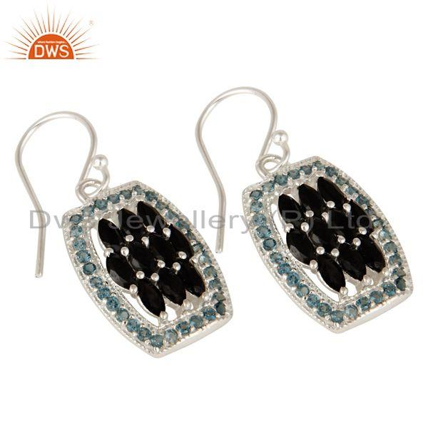 Exporter 925 Sterling Silver London Blue Topaz And Black Onyx Cluster Dangle Earrings