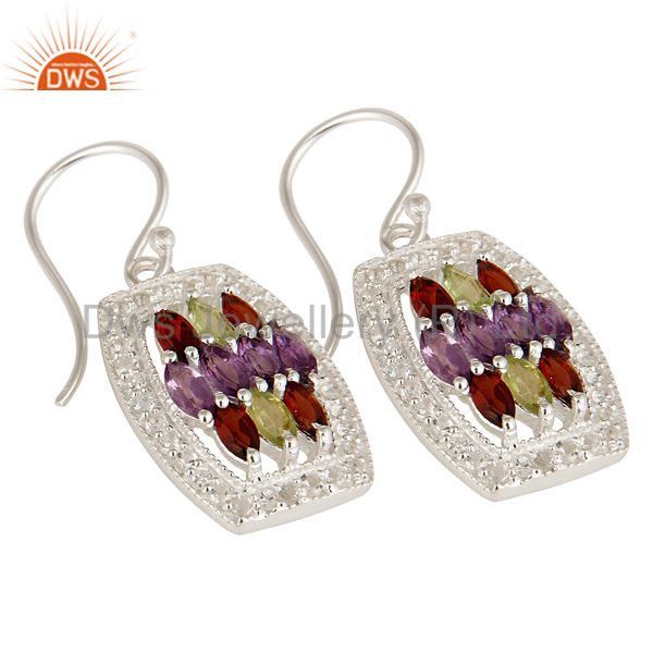 Exporter Amethyst, Garnet And Peridot Sterling Silver Designer Earrings With White Topaz