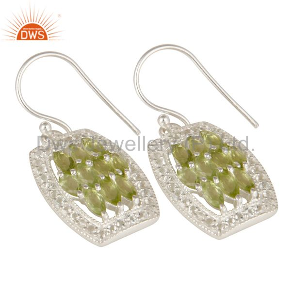 Exporter Genuine 925 Sterling Silver Peridot And White Topaz Cluster Dangle Earrings