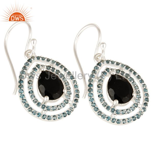 Exporter Natural Black Onyx And Blue Topaz Sterling Silver Hook Dangle Earrings