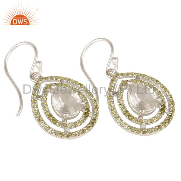 Exporter 925 Solid Sterling Silver Crystal Quartz And Peridot Gemstone Earrings