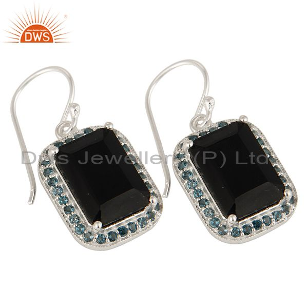 Exporter 925 Sterling Silver Black Onyx And Blue Topaz Gemstone Drop Earrings
