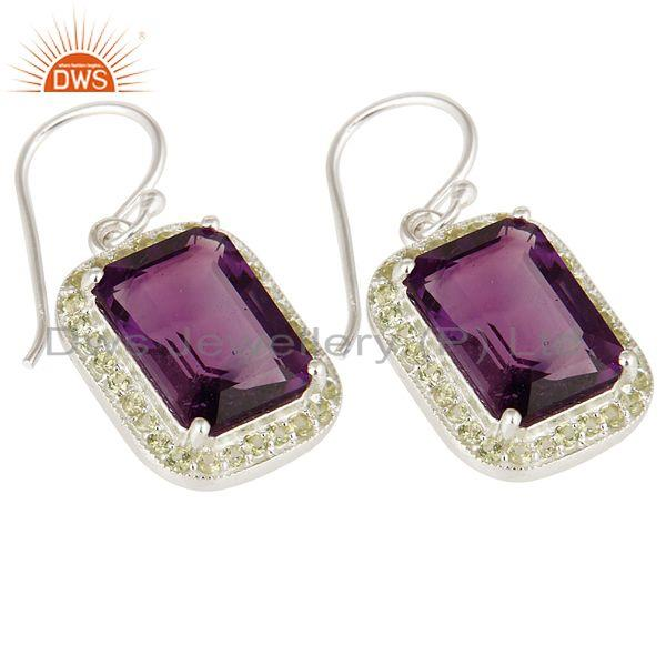 Exporter Emerald Cut Natural Amethyst Gemstone 925 Sterling Silver Dangle Earrings