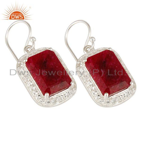 Exporter 925 Sterling Silver Dyed Ruby And White Topaz Dangle Earrings