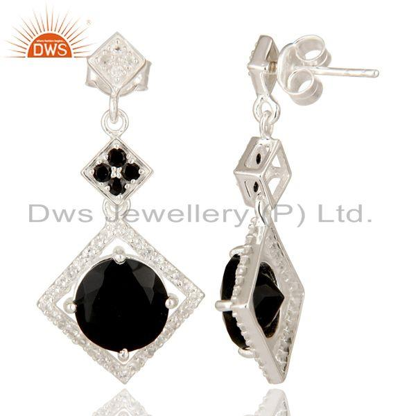 Exporter Black Onyx, Black Spinel And White Topaz Sterling Silver Cluster Dangle Earrings