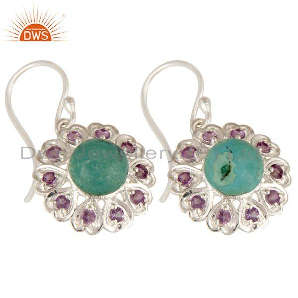 Exporter 925 Sterling Silver Natural Turquoise And Amethyst Gemstone Dangle Earrings