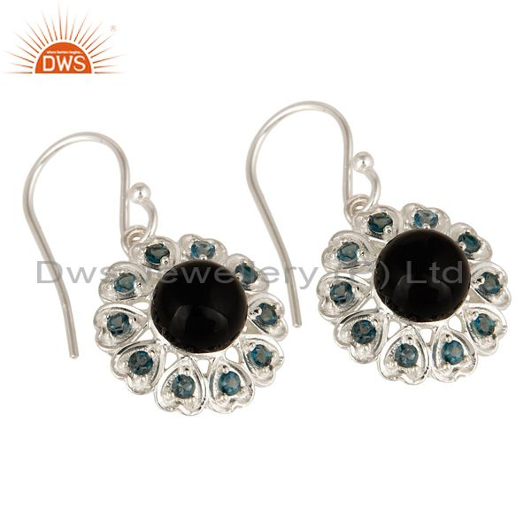 Exporter 925 Sterling Silver Natural Black Onyx And Blue Topaz Gemstone Dangle Earrings