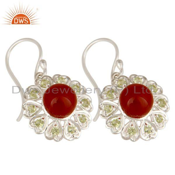 Exporter 925 Sterling Silver Red Onyx And Peridot Gemstone Designer Heart Earrings