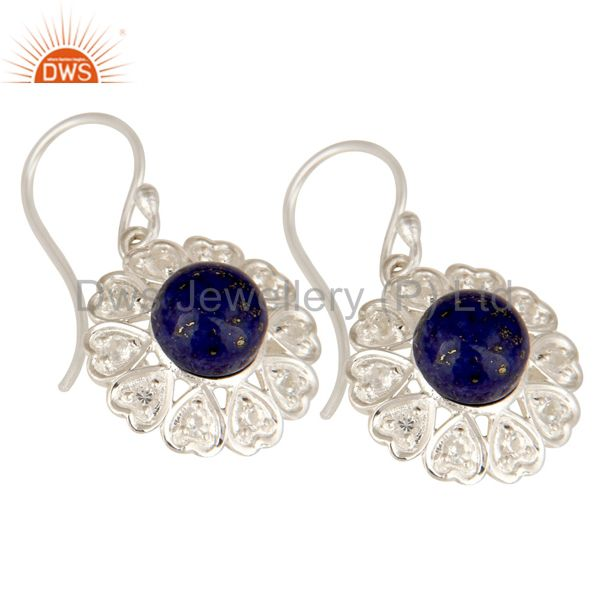 Exporter Lapis Lazuli And White Topaz Gemstone Sterling Silver Designer Heart Earrings