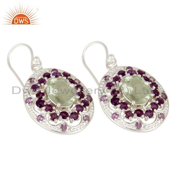 Exporter 925 Sterling Silver Purple Amethyst And Green Amethyst Designer Dangle Earrings
