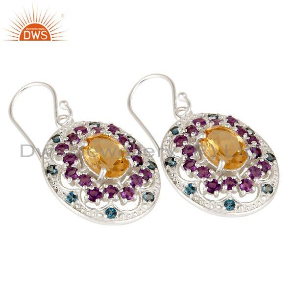 Exporter 925 Sterling Silver Purple Amethyst, BT And Citrine Designer Dangle Earrings