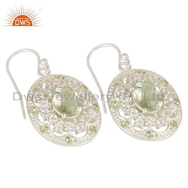 Exporter 925 Sterling Silver Green Amethyst, Peridot And White Topaz Dangle Earrings