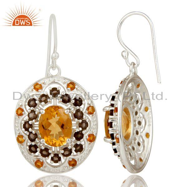 Exporter 925 Sterling Silver Smokey and Citrine Dangle Earrings