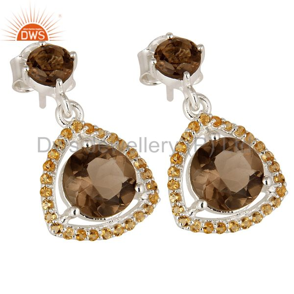Exporter Designer Citrine And Smoky Quartz Gemstone Dangle Earrings In Sterling Silver