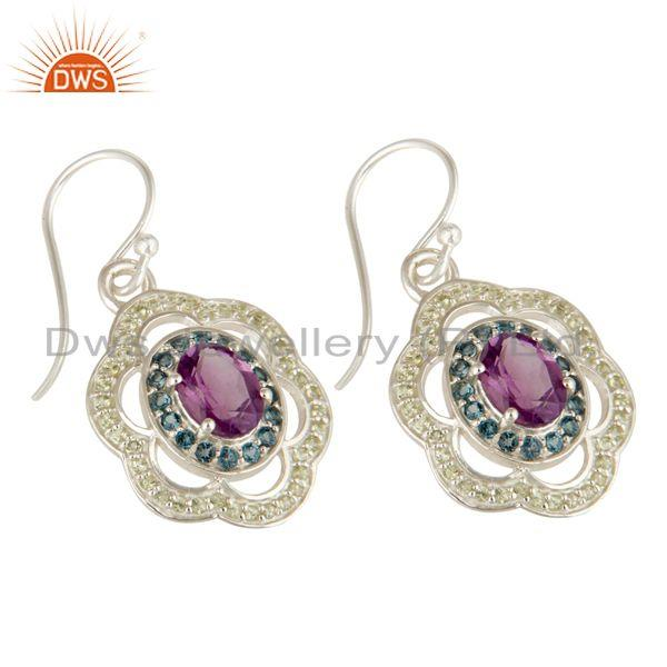 Exporter Amethyst, Blue Topaz And Peridot Gemstone Designer Earrings in Sterling Silver