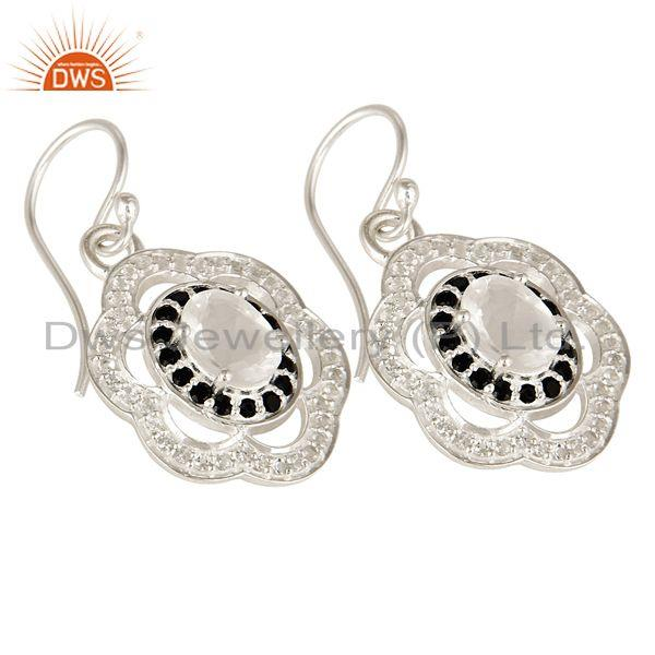 Exporter Sterling Silver Crystal Quartz & Black Spinel Dangle Earrings With White Topaz