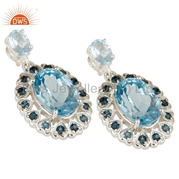 Exporter 925 Sterling Silver Natural London Blue Topaz Fine Gemstone Dangle Earrings