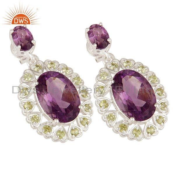 Exporter 925 Sterling Silver Natural Amethyst And Peridot Fine Gemstone Dangle Earrings