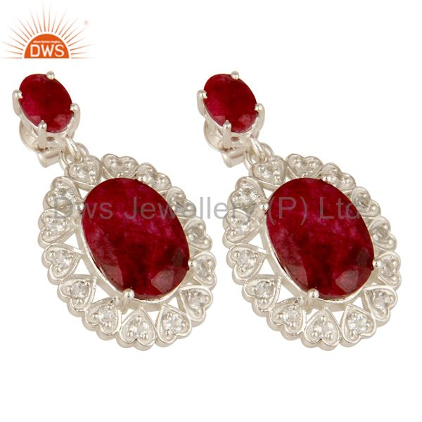 Exporter Ruby Red Corundum And White Topaz Sterling Silver Prong Set Dangle Earrings