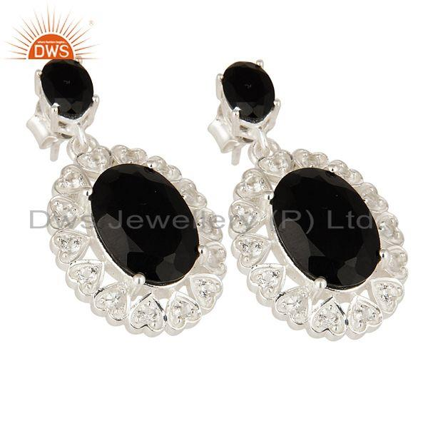 Exporter Oval Cut Black Onyx And White Topaz Sterling Silver Designer Earrings