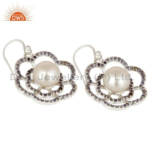 Exporter 925 Sterling Silver White Pearl And Iolite Flower Dangle Earrings