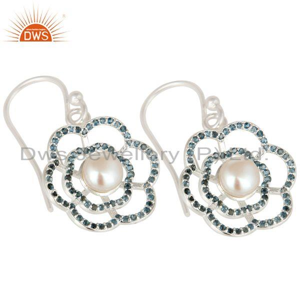 Exporter 925 Sterling Silver White Pearl And Blue Topaz Flower Dangle Earrings
