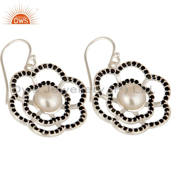 Exporter 925 Sterling Silver Black Spinel And Natural White Pearl Designer Dangle Earring