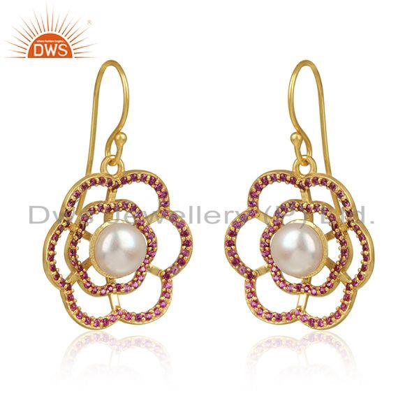 Red zircon pearl gemstone flower gold plated silver earrings