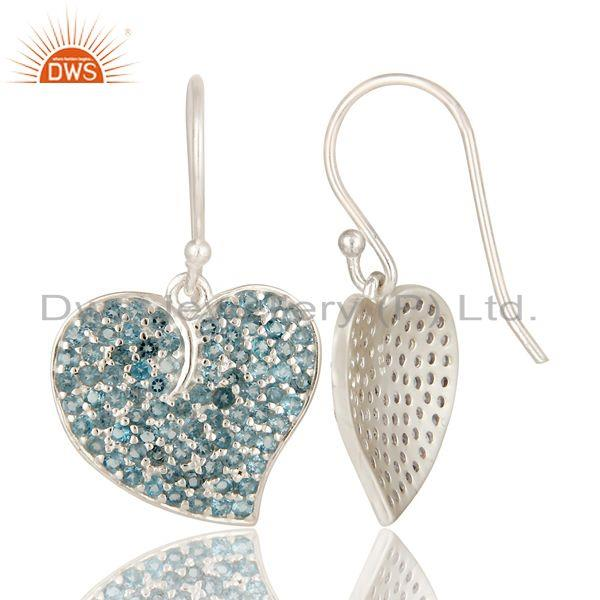 Exporter London Blue Topaz Sterling Silver Heart Design Wedding Fashion Dangle Earrings