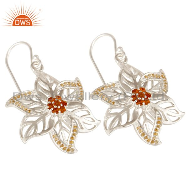 Exporter 925 Sterling Silver Natural Citrine Gemstone Floral Design Dangle Earrings