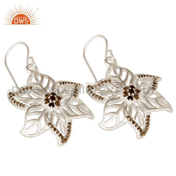 Exporter 925 Sterling Silver Smoky Quartz Gemstone Floral Design Dangle Earrings