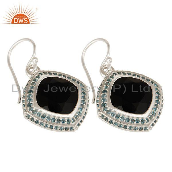 Exporter Natural Black Onyx And Blue Topaz Gemstone Earrings In Sterling Silver