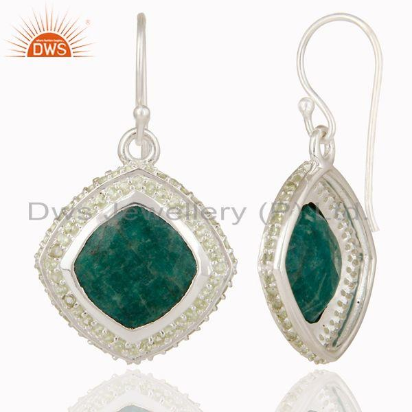 Exporter Natural Emerald and Peridot Gemstone Earrings In Sterling Silver