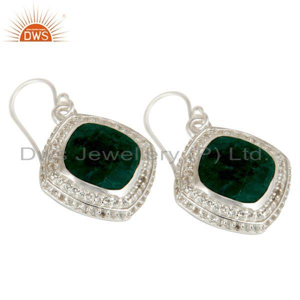 Exporter Natural Emerald and White Topaz Gemstone Earrings In Sterling Silver