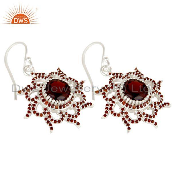 Exporter Solid 925 Sterling Silver Round Cut Garnet Gemstone Designer Dangle Earrings